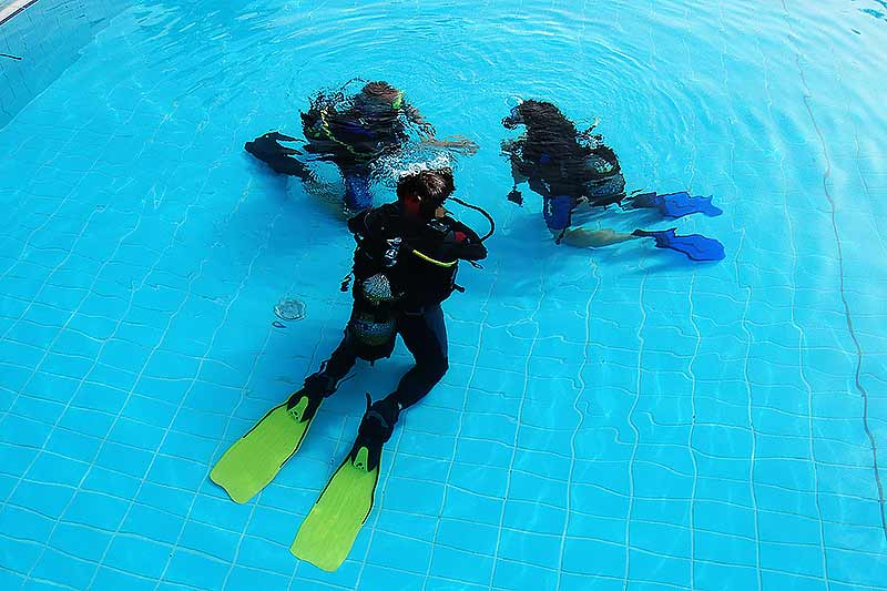students learning to dive in a pool